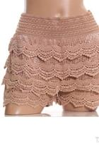 Tiered Crochet-lace Shorts