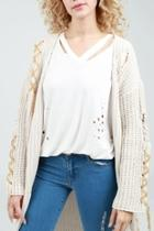Tie-up Cable-knit Cardigan
