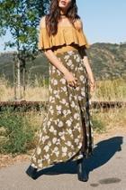 Olive Floral Skirt