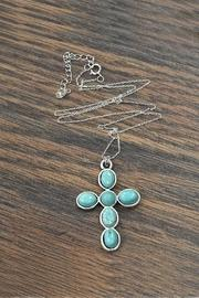 Sterling-silver-chain-necklace With Cross-natural-turquoise-pendant