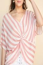 Striped Front-knot Top