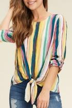 Mixed-rainbow Striped Top