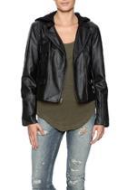 Vegan Leather Hood Jacket