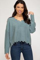 Scallop Rib Knit Sweater