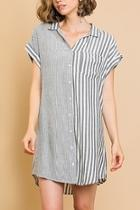 Stripe Buttonfront Dress