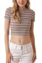 Grey Striped Crop-top