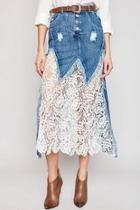 Lace Denim Skirt