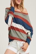 Stripe Dolman-sleeve Top