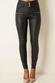 Black High-waist Wax-trousers