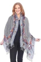 Hounds-tooth Embroidered Shawl