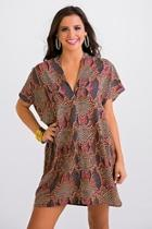 Snakeprint Vneck Dress