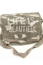 Canvas Green Camo Crystal Studded Messenger Bag