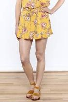 Yellow Floral Printed Shorts