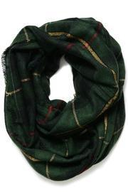 Look By M Green Plaid Scarf
