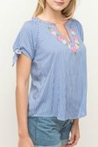 Pinstripe Embroidered Top