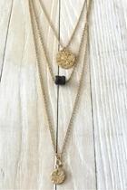 Gold Black-diamond Charm-necklace