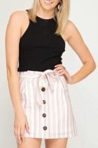 Striped Button-down Skirt