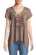 Cherelle Embroidered Velvet-tunic