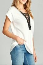 White Laceup Shirt Top
