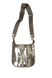 Black/grey Camo Canvas Messenger W/distressed Leather Silver Star