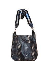 Faux Python Messenger W/adjustable Stripe Strap