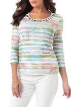 Color-stripe Studded Top