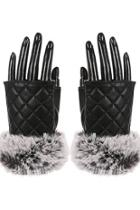 Faux-leather Fingerless Gloves