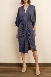 V-neck Ruched Midi Dress