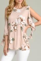 Tie-sleeve Floral Tunic