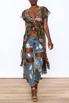 Floral Print Maxi Blouse