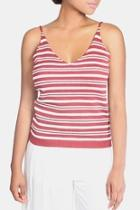 Red Knit Striped Top