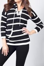 Stripped Tie-front Shirt