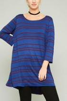 Blue-striped Tunic Top