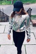 Michael Kors Collection Pearl Grey Sequin Sweater