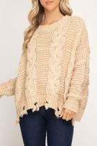 Cable-knit Distressed Sweater