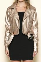 Rose-gold Leather Jacket