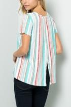 Striped Crossover Back Tunic