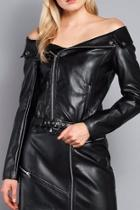 Off-shoulders Moto Jacket