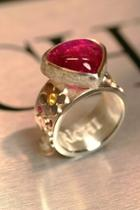 Rubelite Flower Ring