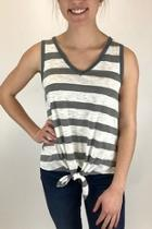 Mixed Striped Tie Front Tank Top