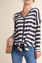 Jayne Striped-knit Top