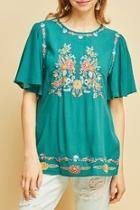 Jade Embroidery Top