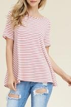 Scoop-neck Striped Tee