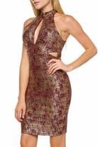 Cutout Foil Dress