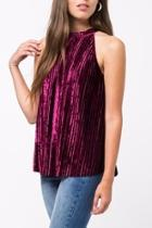 Pleated Velvet Halter Top