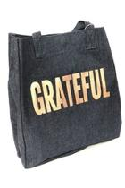 Upright Bag: Denim With Rose Gold Grateful Tote