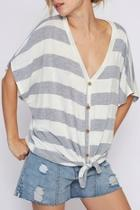 Striped Knit Front Top