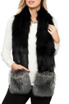 Selena Faux Fur Trim Scarf W Pockets
