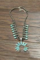 Full-squash Blossom-natural Turquoise-necklace