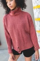 Distressed Turtleneck-knit Sweater